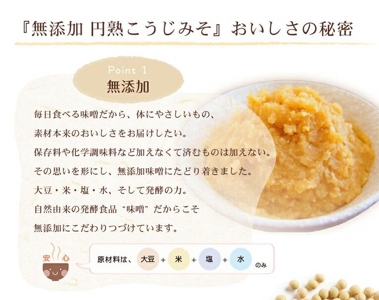 円熟こうじみそは無添加。原材料は、大豆、米、塩、水のみ。
