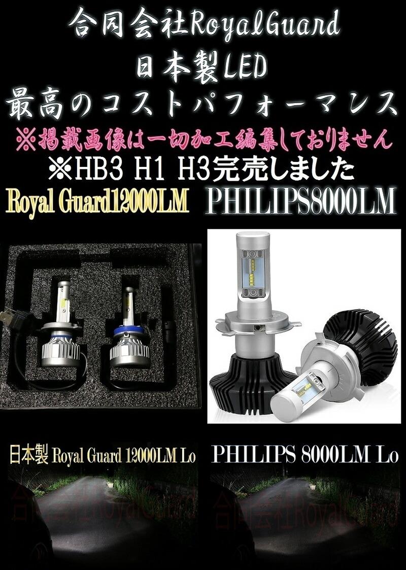 HIDより明るい  日本製 合同会社 ロイヤルガード LED ヘッドライト 12000LM 6000k H4 Hi/Lo H1 H3 H7 H8 H9 H11 H16 HB3 HB4 PSX26 送料無料