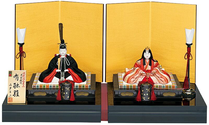真多呂作 有職雛セット 正絹 黒雲鶴紋 伝統的工芸品