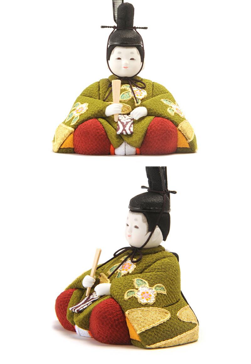 桜寿雛 正絹ちりめん 本金金彩 緑 金子久一作