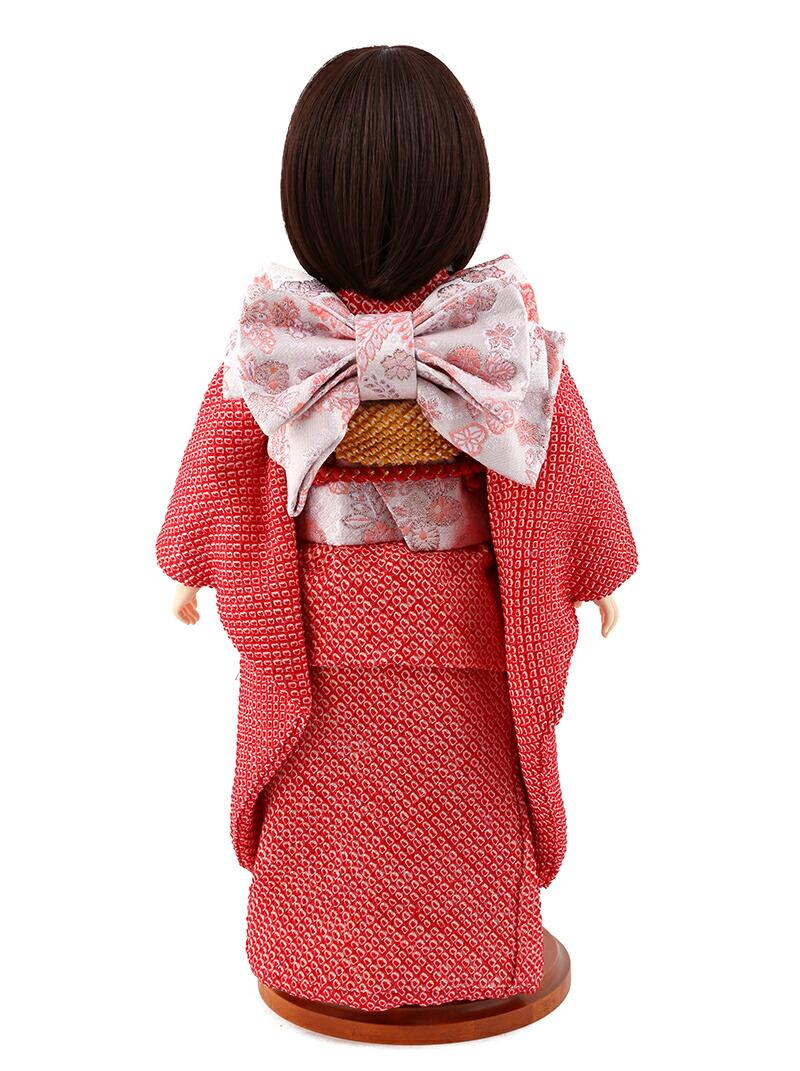 aya 着物セット 正絹 赤絞り 桜に鞠 刺繍 ショートボブ(レッドブラウン) スタンド付