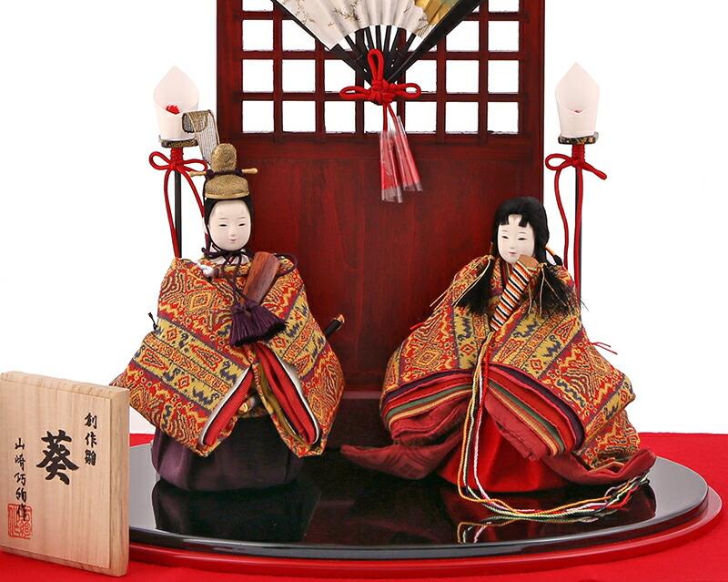山崎巧絢作 創作雛 葵 かがち絣文 龍村美術織物