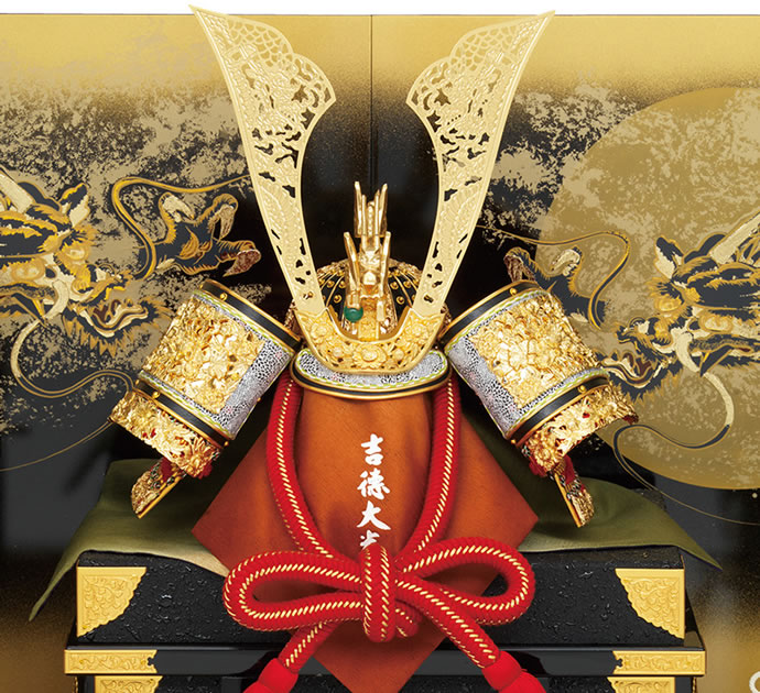 家紋入れ 健勝 向かい龍 透かし彫鍬形 飛龍之兜 18号 高床台飾り 正絹糸縅
