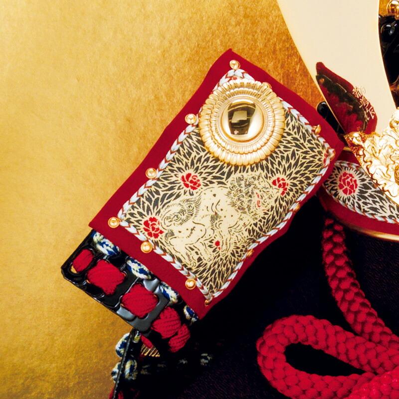 家紋入れ 加藤鞆美作 和紙小札1/3兜 床飾り 正絹赤糸縅