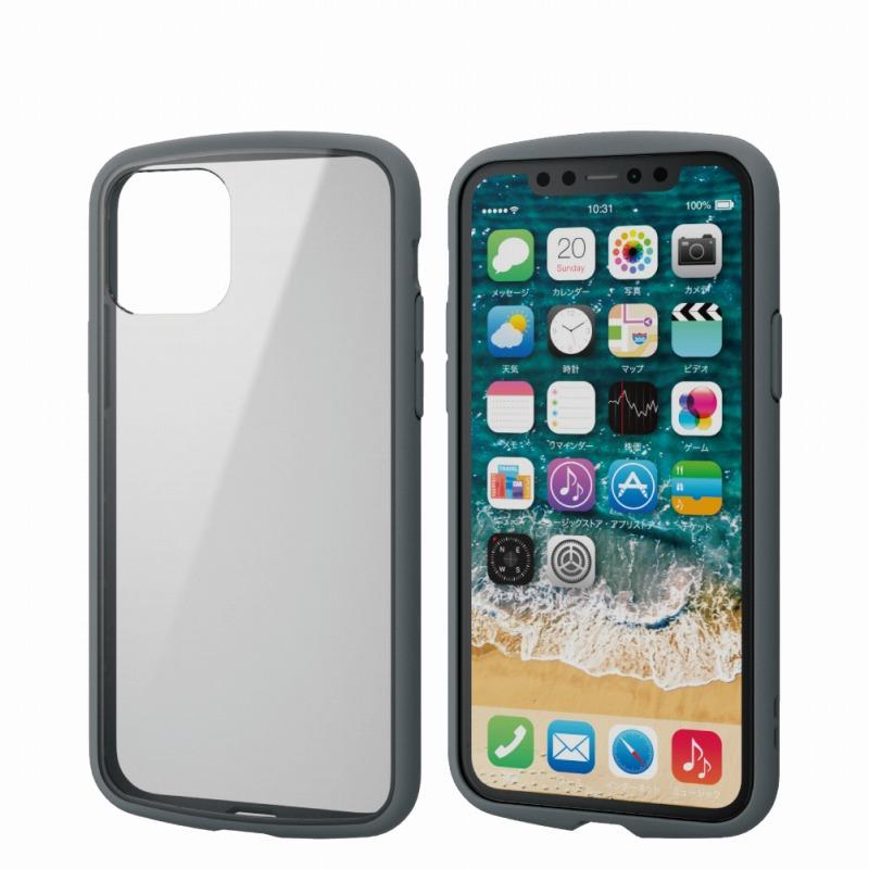 【ELECOM(エレコム)】iPhone 11 Pro/TOUGH SLIM LITE/フレームカラー/グレー [▲][EL]