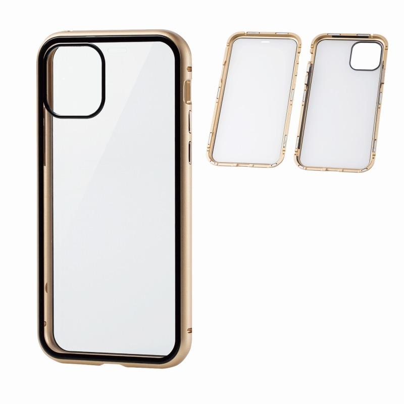 【ELECOM(エレコム)】iPhone 11 Pro/ハイブリッドケース/ガラス/アルミ/360度保護/ゴールド [▲][EL]
