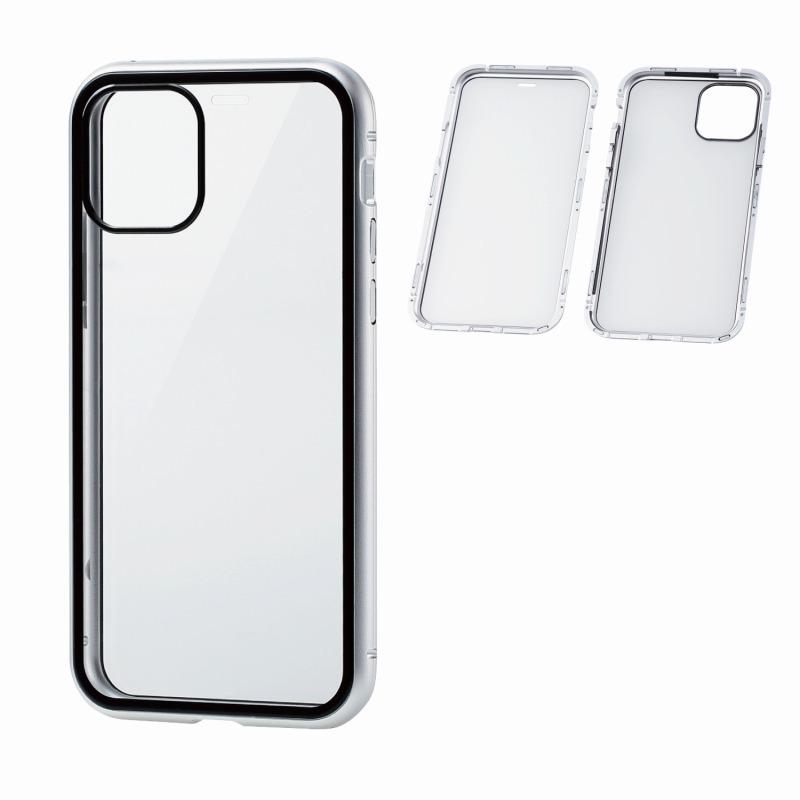 【ELECOM(エレコム)】iPhone 11 Pro/ハイブリッドケース/ガラス/アルミ/360度保護/シルバー [▲][EL]