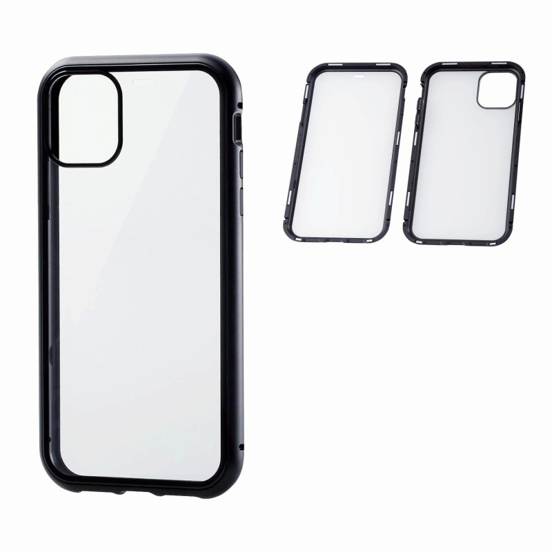 【ELECOM(エレコム)】iPhone 11/ハイブリッドケース/ガラス/アルミ/360度保護/ブラック [▲][EL]
