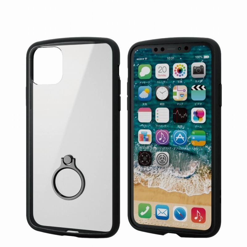 【ELECOM(エレコム)】iPhone 11 Pro Max/TOUGH SLIM LITE/フレームカラー/リング付/ブラック [▲][EL]