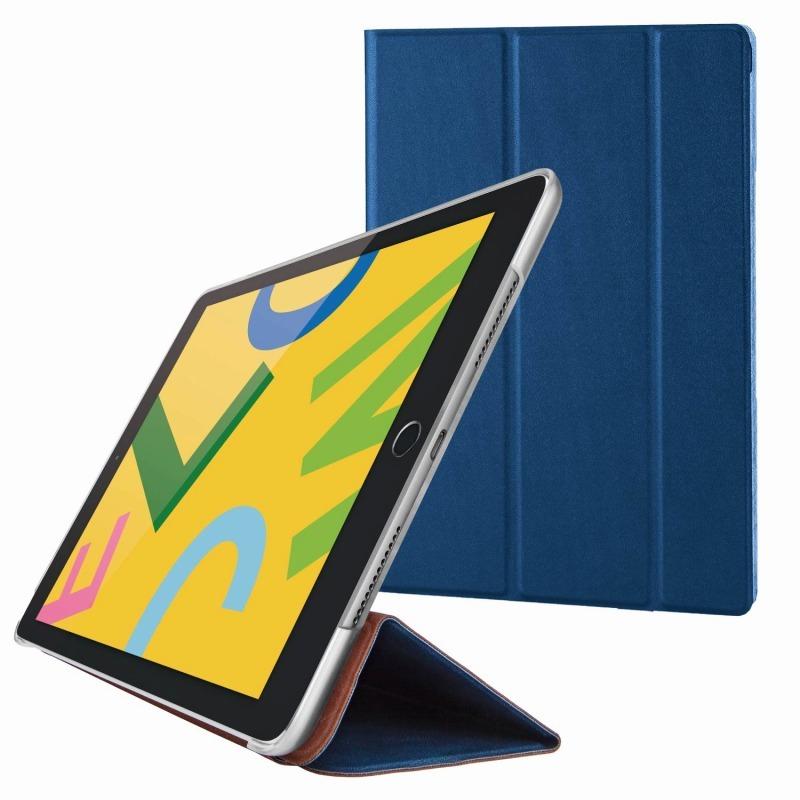 【ELECOM(エレコム)】iPad 10.2 2019年モデル/フラップケース/背面クリア/ソフトレザー/2アングル/スリープ対応/ネイビー [▲][EL]