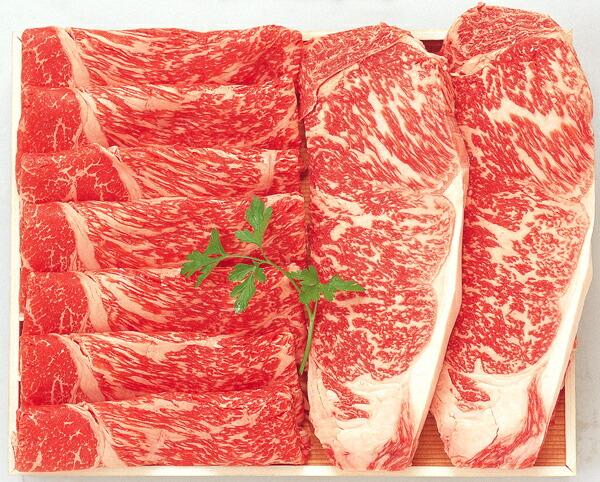 阿部牛肉加工 白老牛ステーキ・すき焼A ロースステーキ2枚(約150g×2枚)・肩スライス約400g 【冷凍商品】