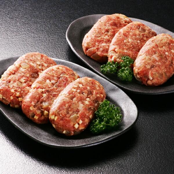 阿部牛肉加工 白老ハンバーグセットF 6枚(合挽ハンバーグ約100g×3枚+合挽チーズハンバーグ約100g×3枚) 【冷凍商品】
