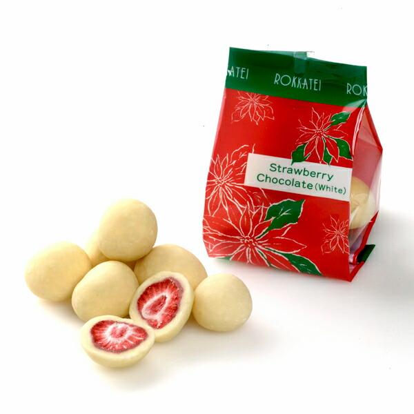 六花亭 ストロベリーチョコ ホワイトクリスマスパッケージ 【袋入】 80g(約7粒)