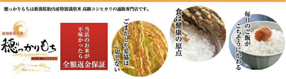穂っかりもちは新潟県胎内産特別栽培米高級コシヒカリの通販専門店です。