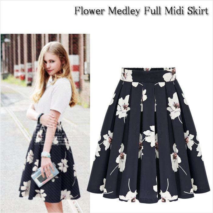 bee-es shop | Rakuten Global Market: Floral flare skirt MIME-MIDI ...