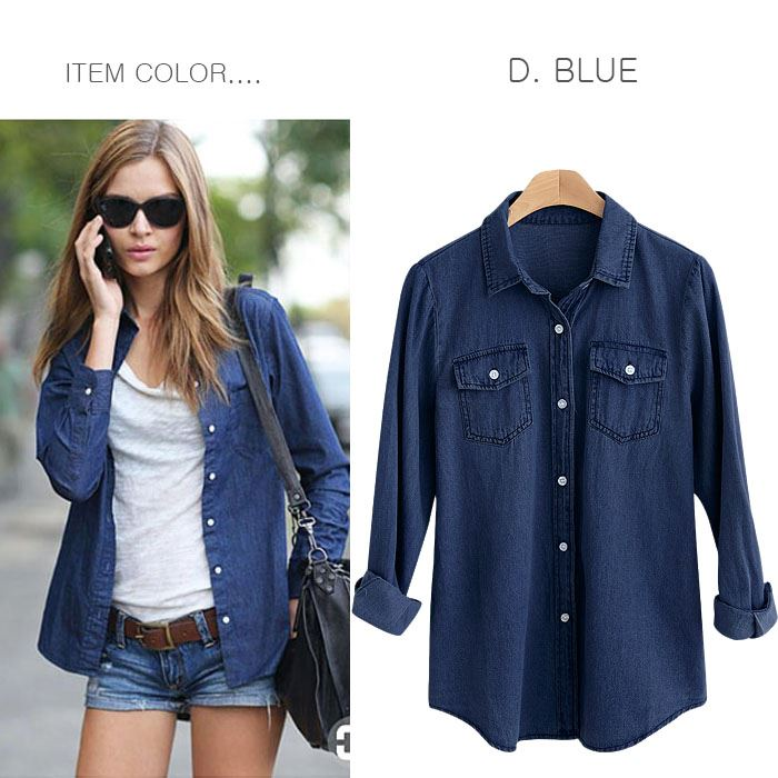 b478e825e2 ... shirt western shirt cut-and-sew tops spring and summer Lady s  M  service 10 10  lady s in basic design flapped pocket design long sleeves  denim shirt ...