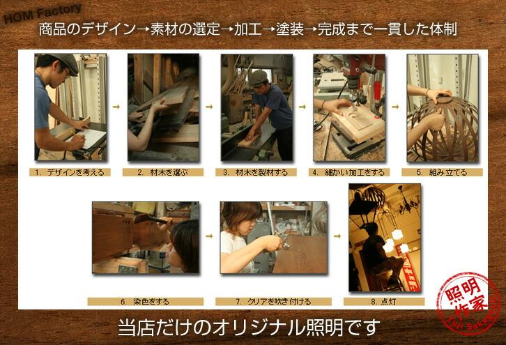 商品のデザイン→素材の選定→加工→塗装→完成まで一貫した体制