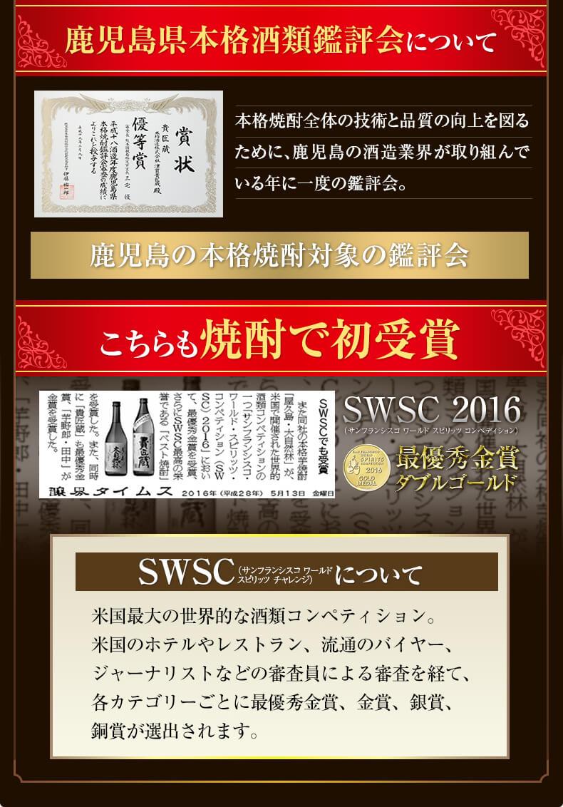 鹿児島県本格酒類鑑評会について 焼酎で初受賞 SWSC 2016 最優秀金賞 ダブルゴールド