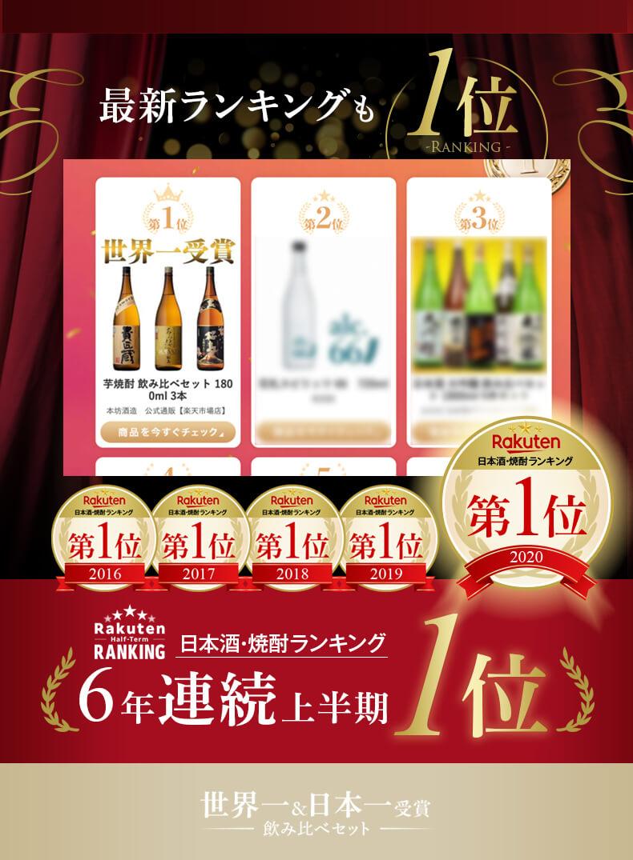 最新ランキングも1位 日本酒・焼酎ランキング 6年連続 上半期1位