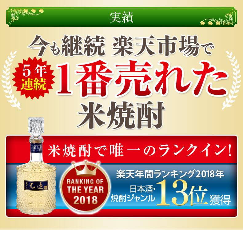 楽天年間ランキング 日本酒・焼酎ジャンル11位受賞