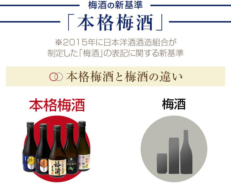 本格梅酒の基準 「本格梅酒」 2015年に日本洋酒酒造組合が制定した「梅酒」の表記に関する新基準 本格梅酒と梅酒の違い