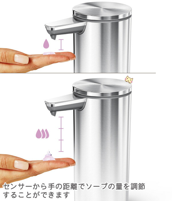 センサーからの手の距離でソープの量を調節することができます