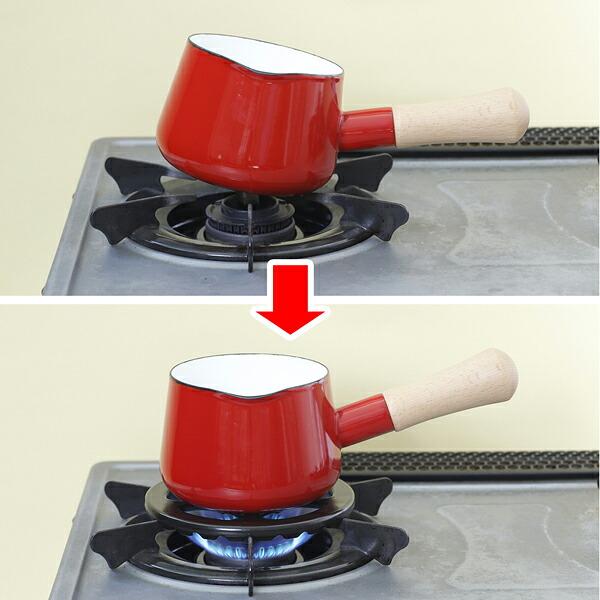 ちいさなお鍋の傾きを安定