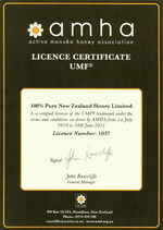 100%PureNewZealandHoney社はライセンスNo.1037のAMHA加盟社です。