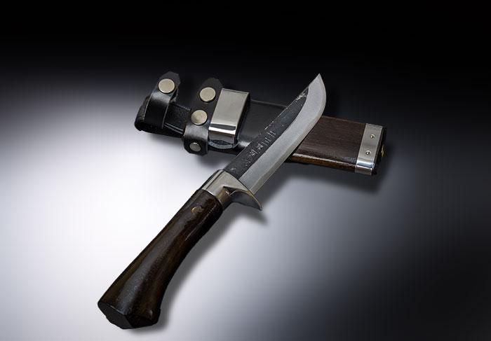 東周作 狩猟用 剣鉈 青紙鋼 黒打 4寸 洋漆仕上
