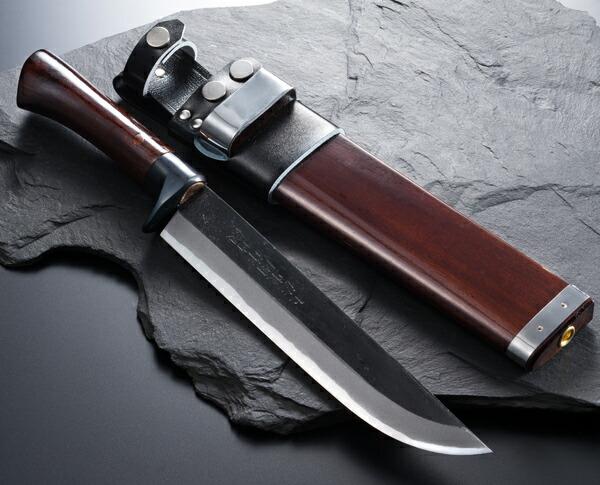 東周作 狩猟用 剣鉈 青紙鋼 黒打 7寸 洋漆仕上