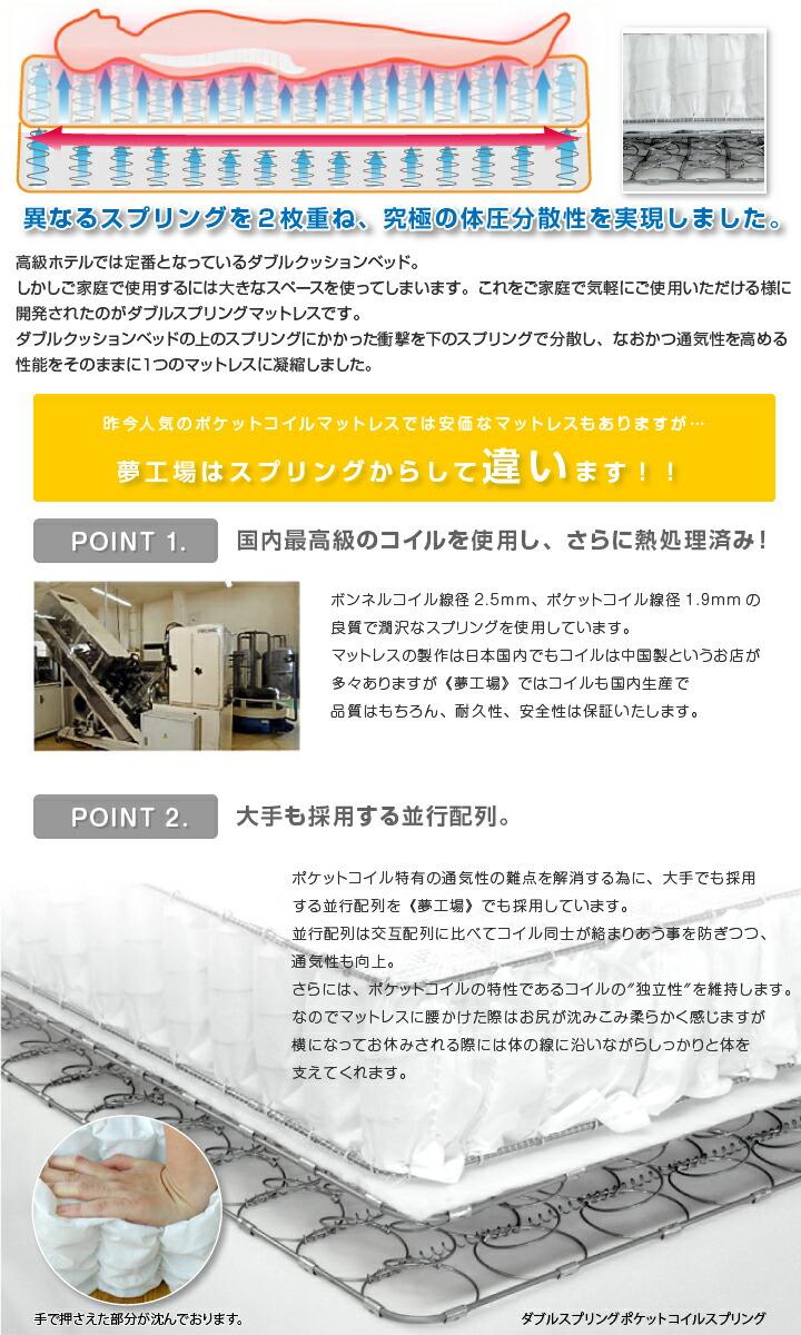 下部ボンネル・上部ポケットのダブルスプリングを1本のマットレスに!コイルも国内生産で耐久性、安全性は保証します。