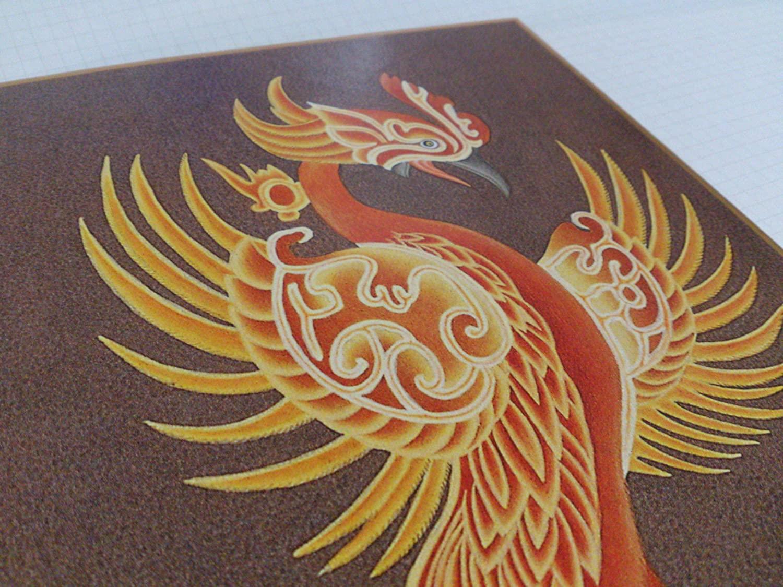 仏画色紙南方神 朱雀
