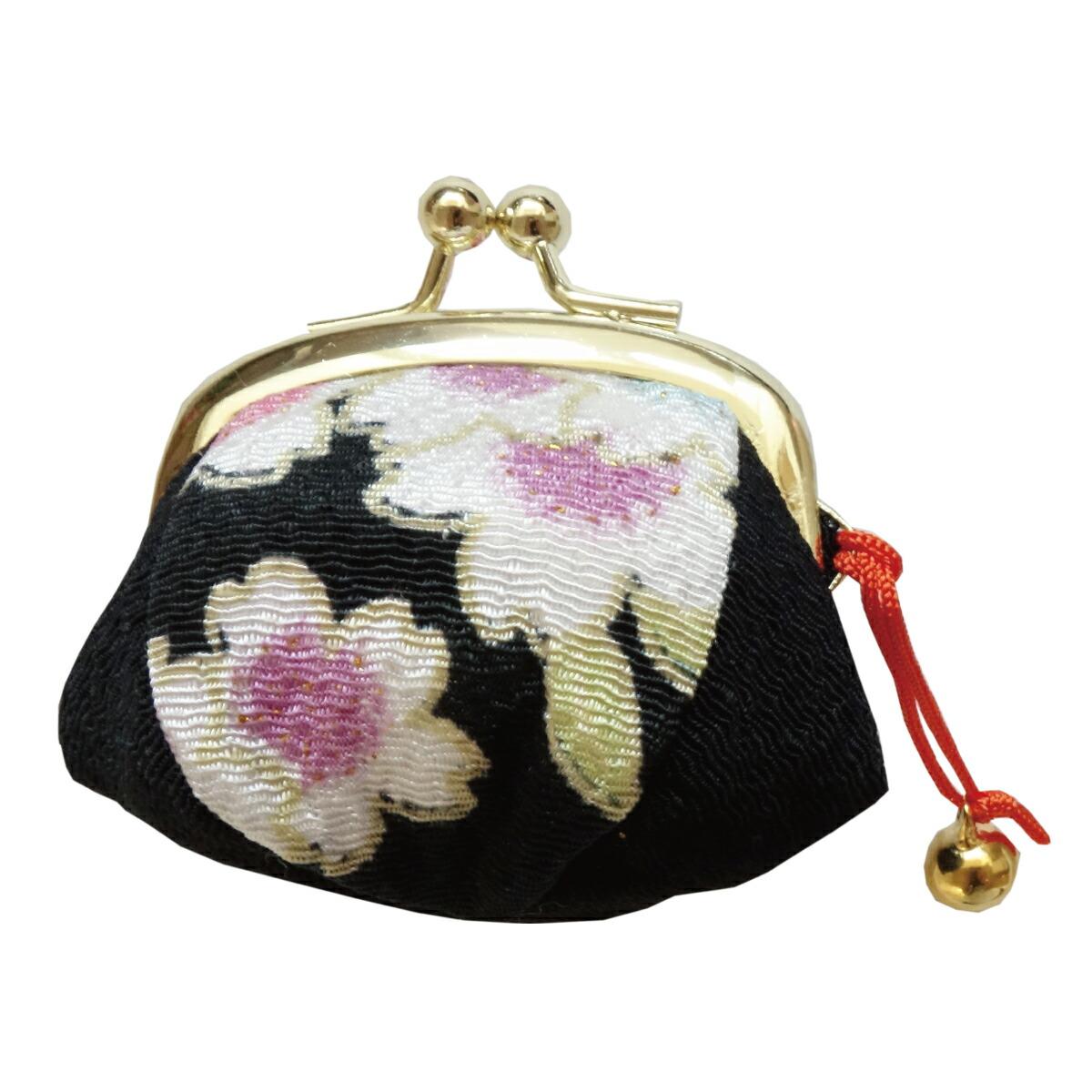 【がま口】指輪差し付・財布/小銭入れ ミニサイズ小鈴付<三色桜>黒