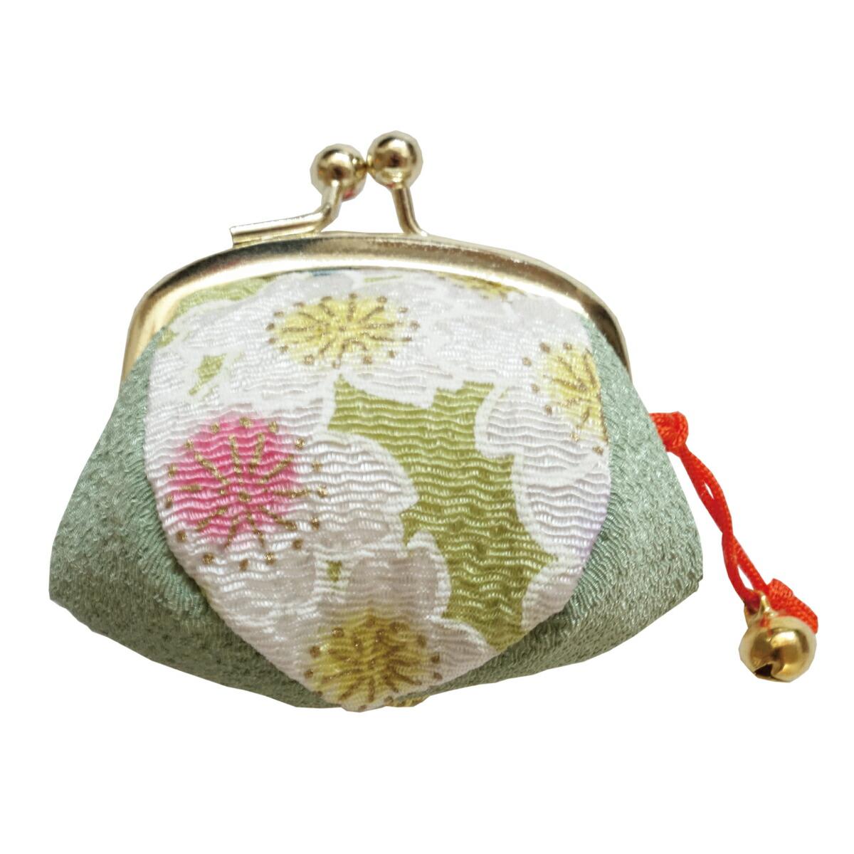 【がま口】指輪差し付・財布/小銭入れ ミニサイズ小鈴付<三色桜>若草