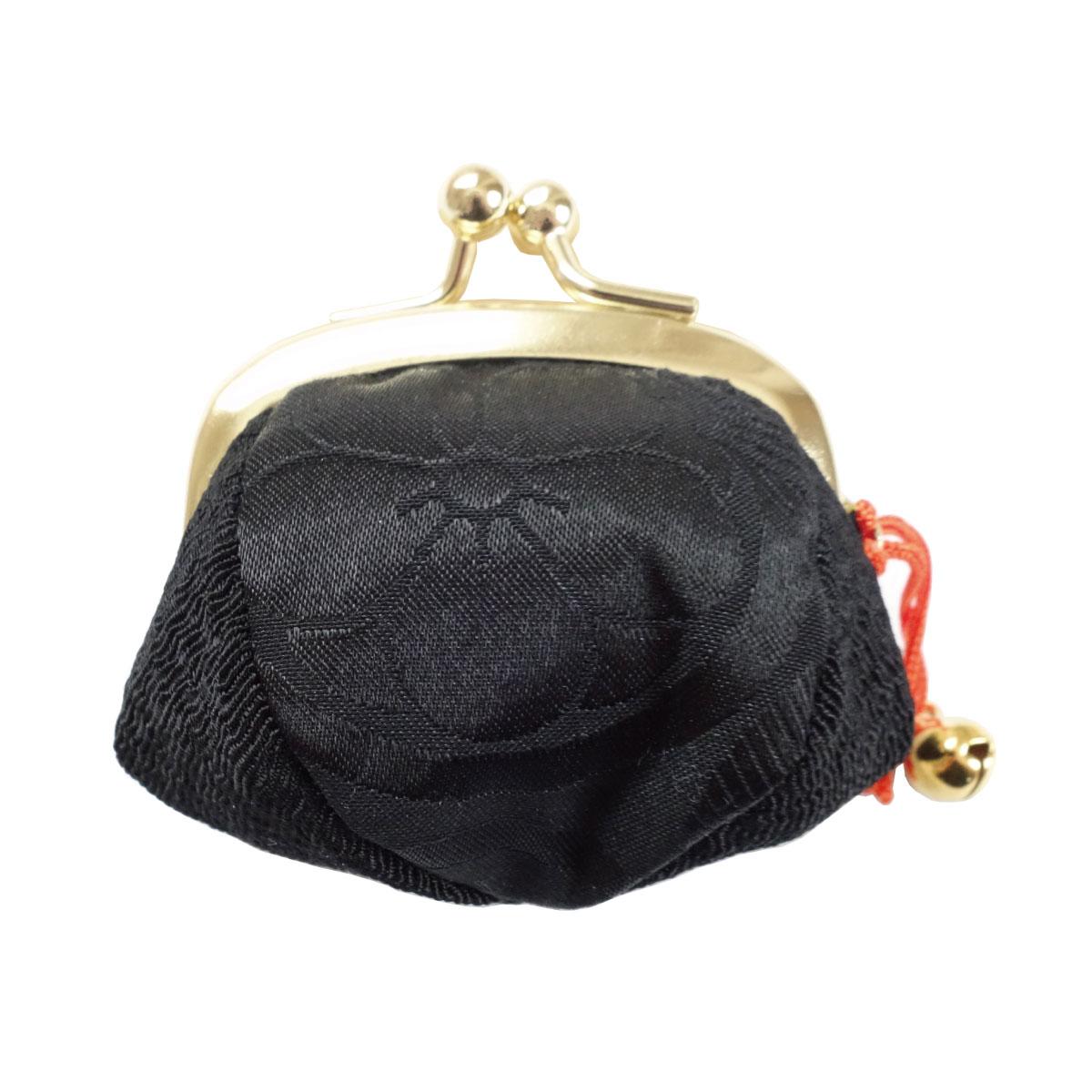 【がま口】指輪差し付・財布/小銭入れ ミニサイズ小鈴付<花紋>黒