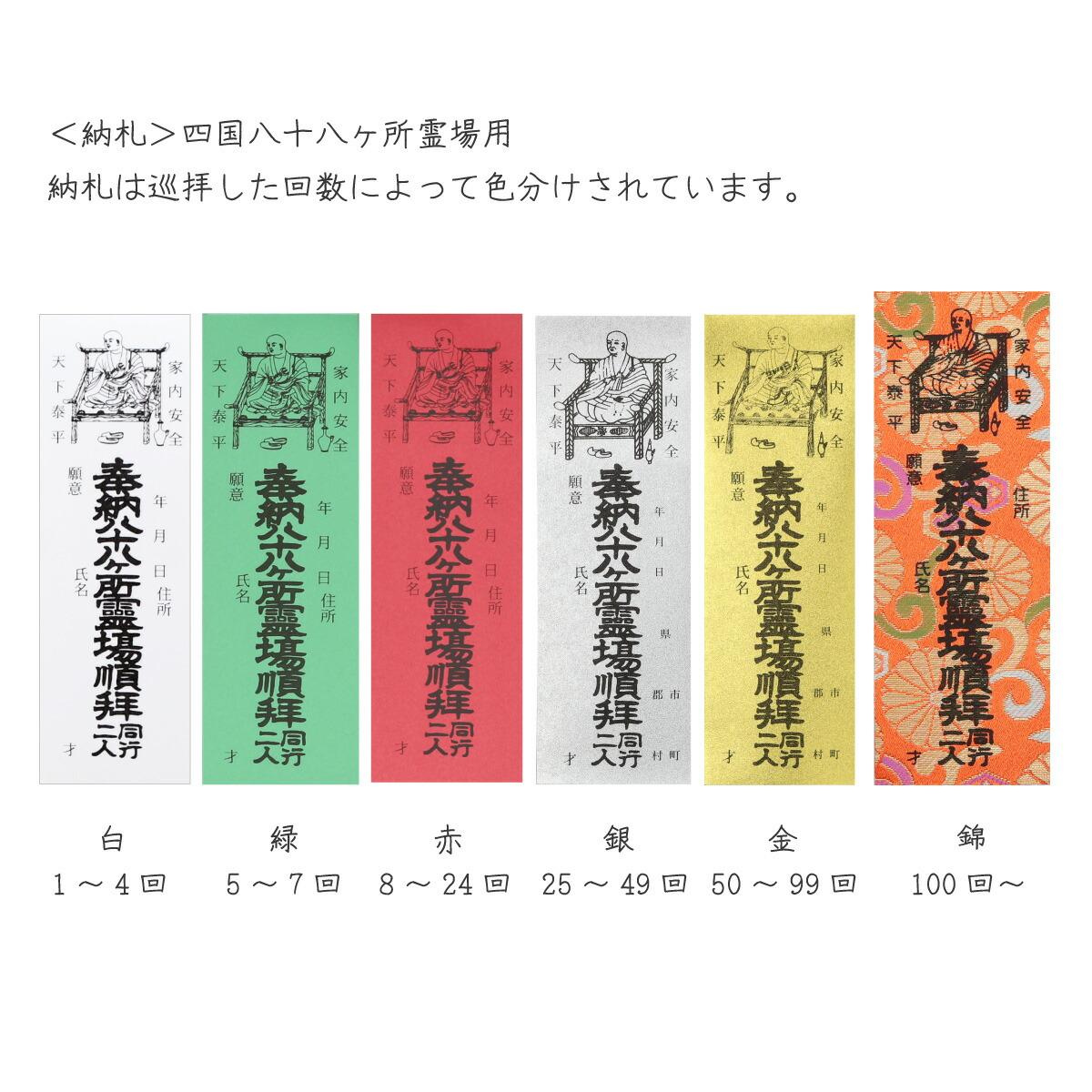 納札 四国八十八ヶ所用(100枚入)赤