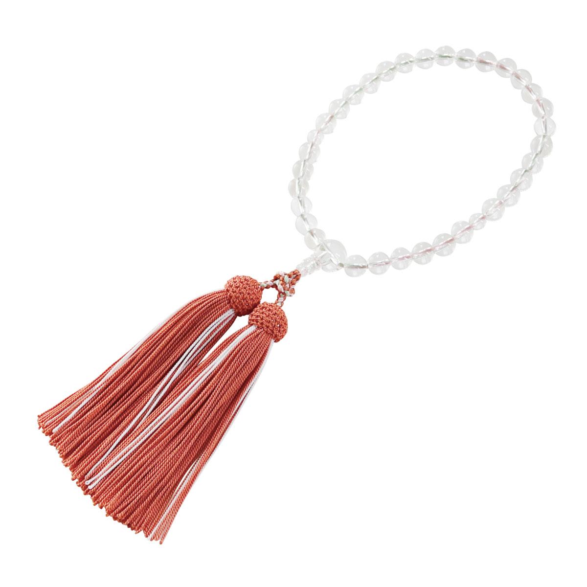 本水晶8ミリ彩色編蛍正頭煉瓦色略式数珠(女性用)