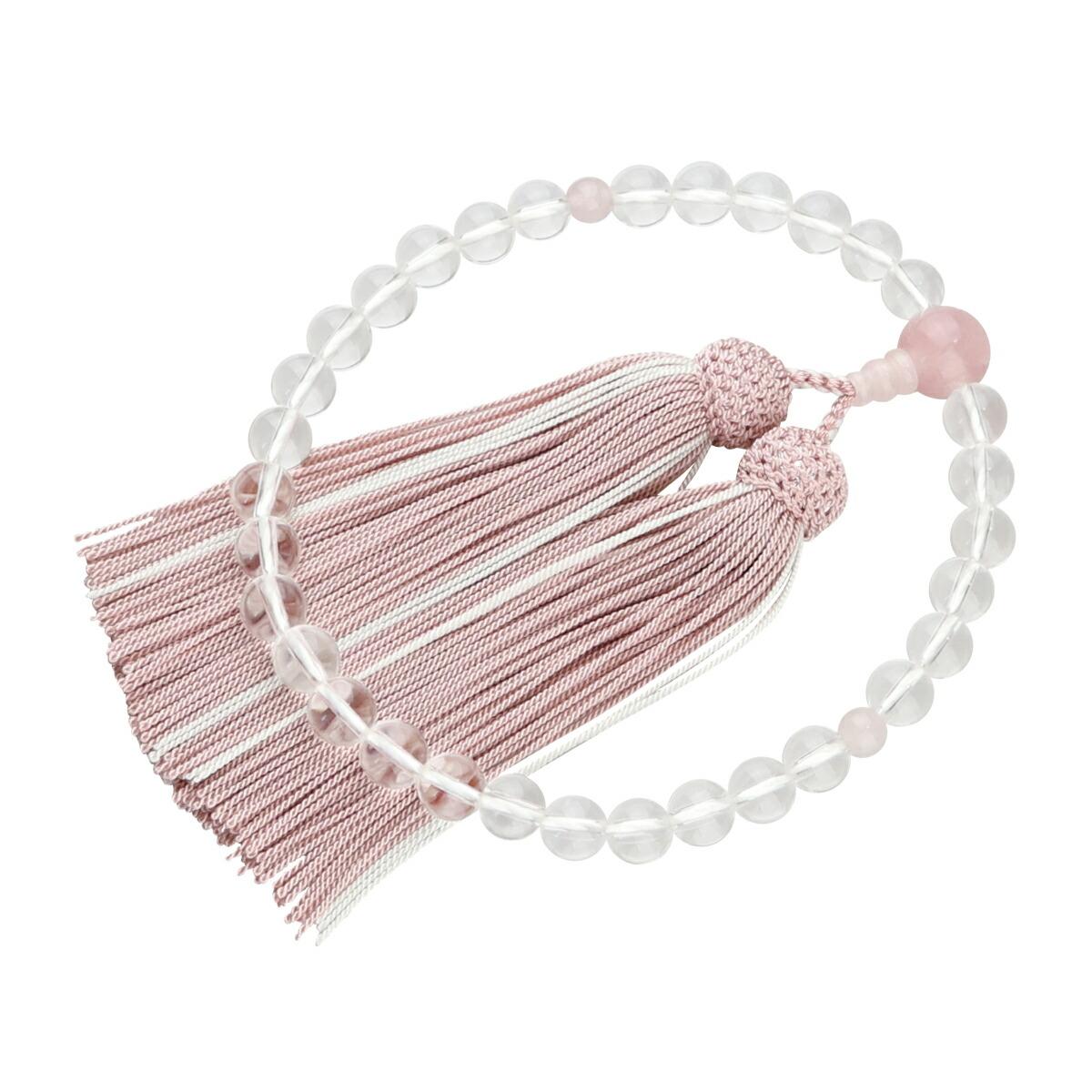 数珠(女性用略式) 本水晶8mm(丸玉/紅水晶仕立/灰桜・白ライン)