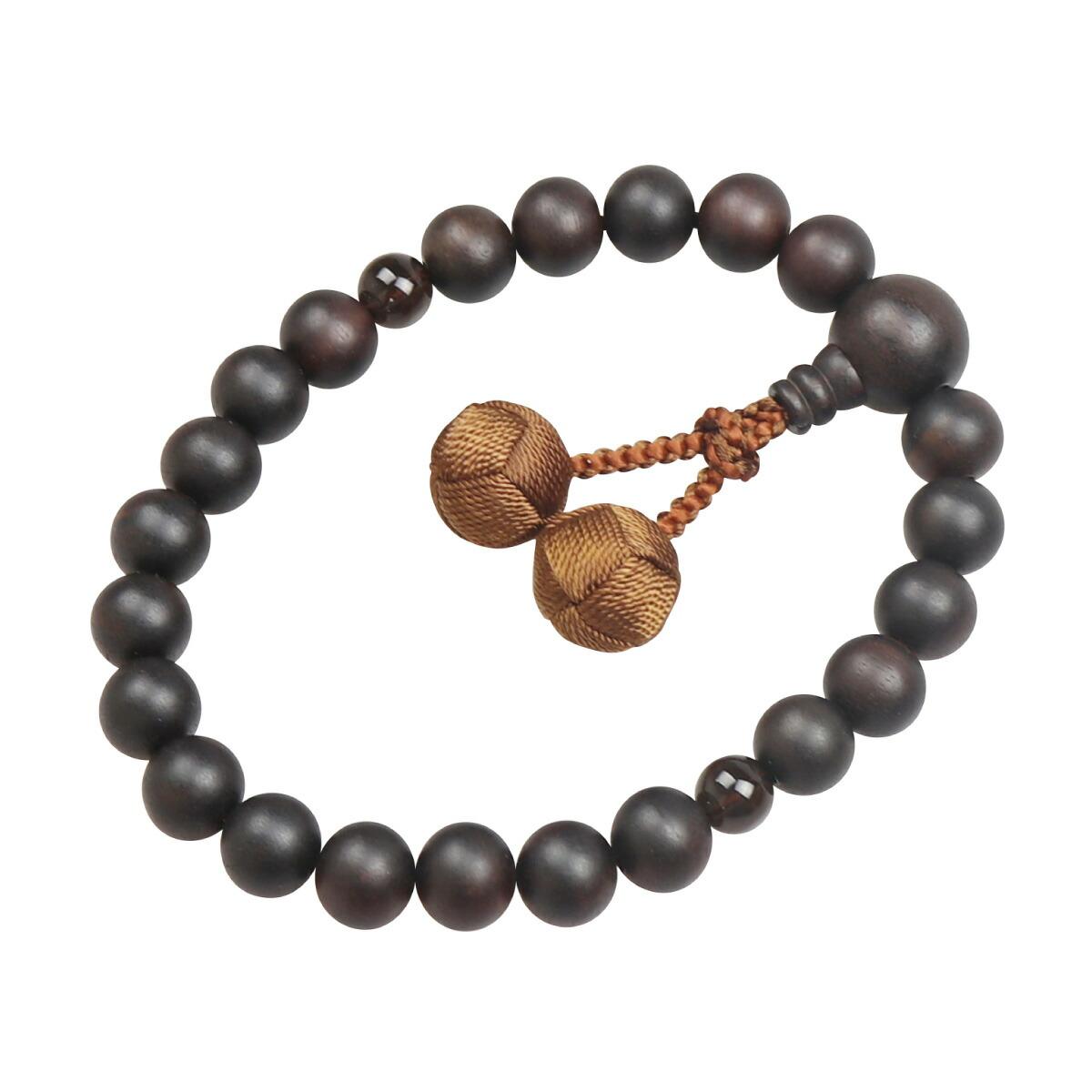 数珠(男性用略式)素挽 縞黒檀22珠(茶水晶) 利久梵天