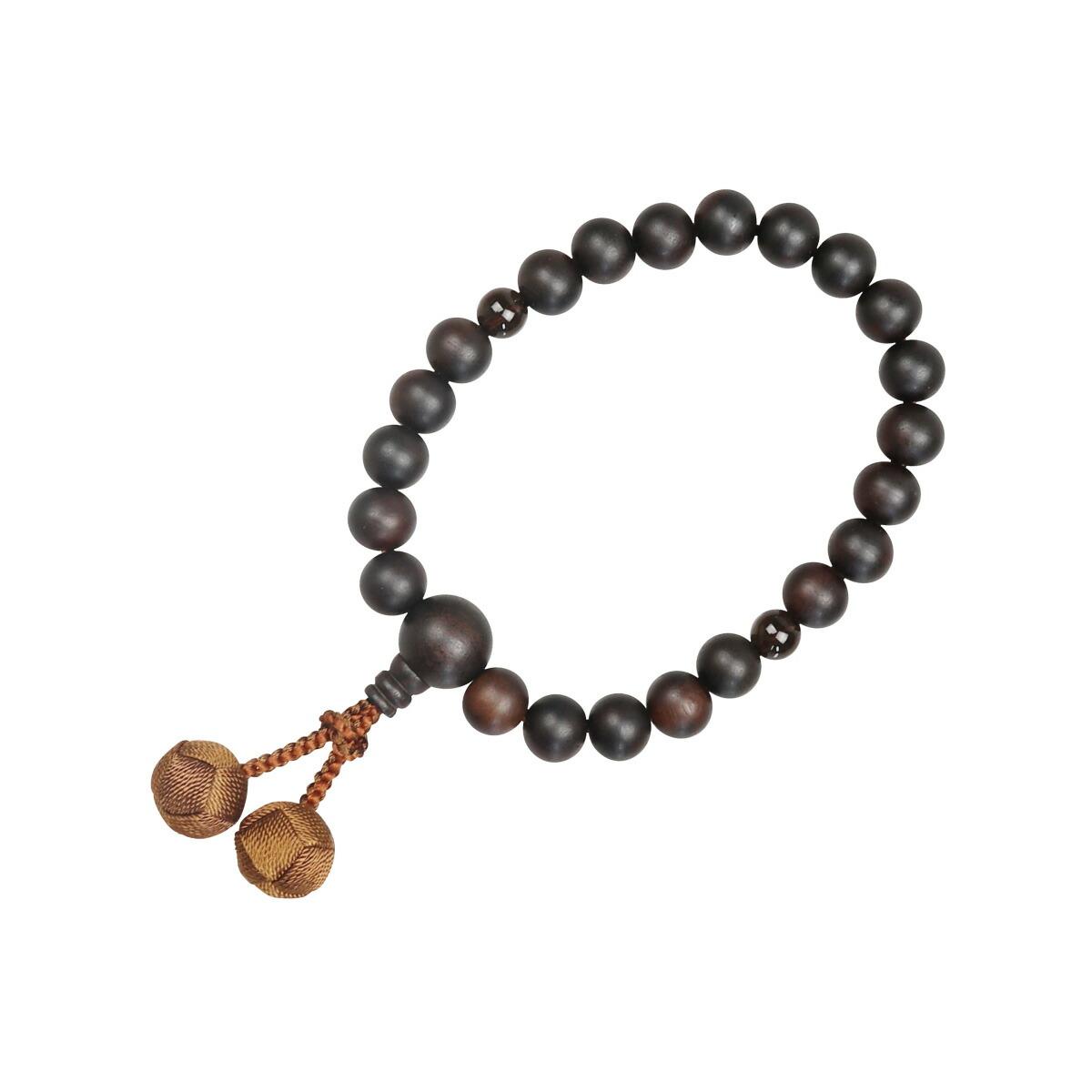 数珠(男性用 略式)素挽 縞黒檀22珠(茶水晶) 利久梵天