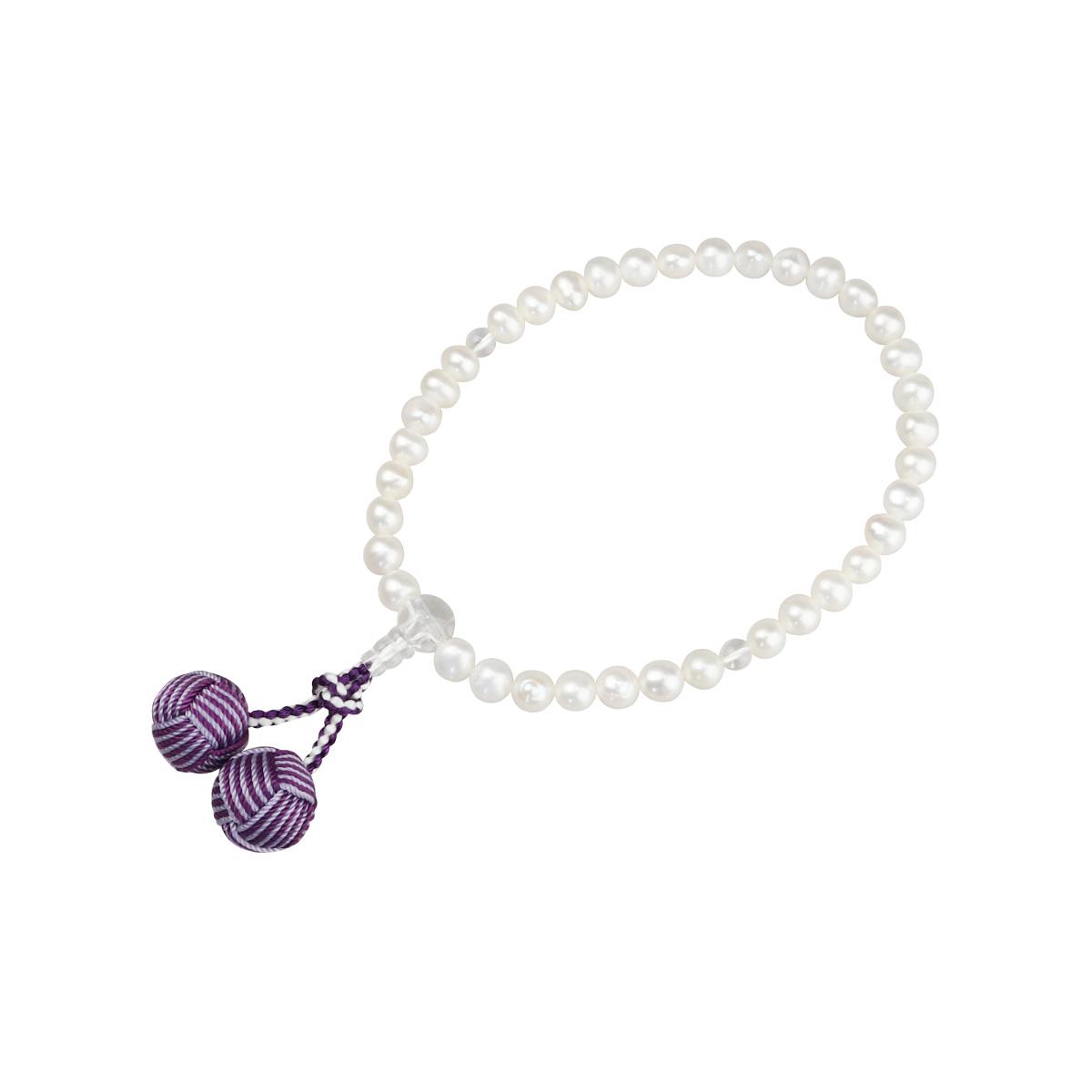 数珠 淡水真珠(白) 7mm (水晶仕立) 利久梵天 二色房/紫紺×藤