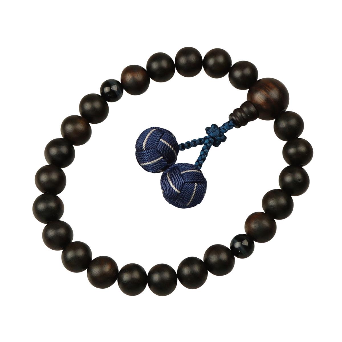 数珠 男性用略式 京念数 全宗派対応 縞黒檀 青虎目石仕立 利久梵天房