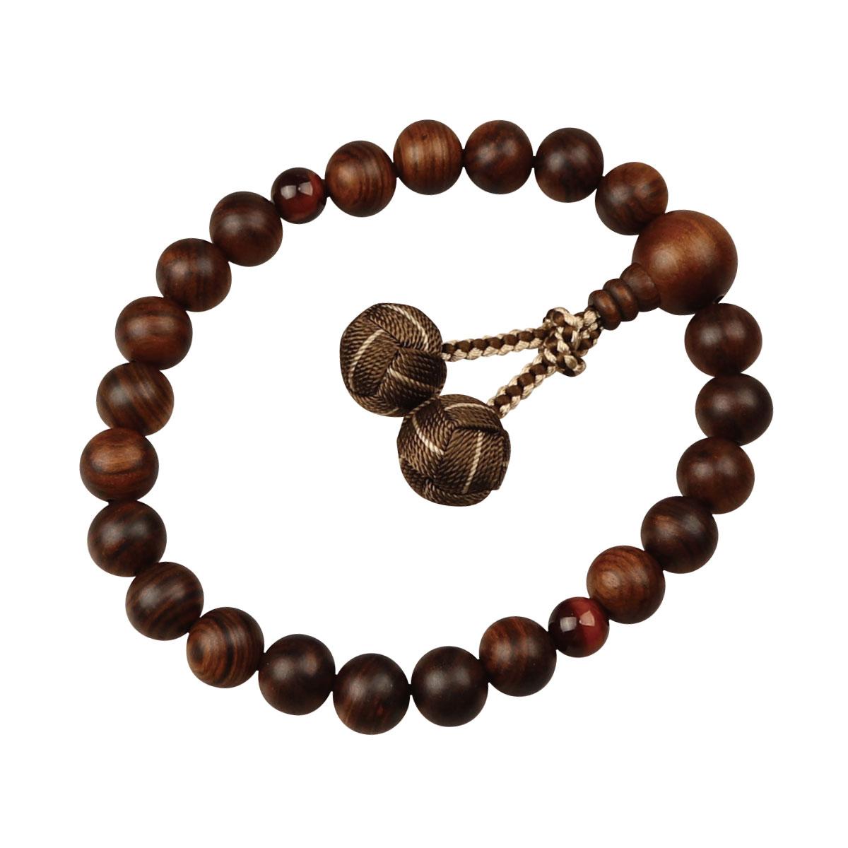 数珠 男性用略式 京念数 全宗派対応 栴檀 赤虎目石仕立 利久梵天房
