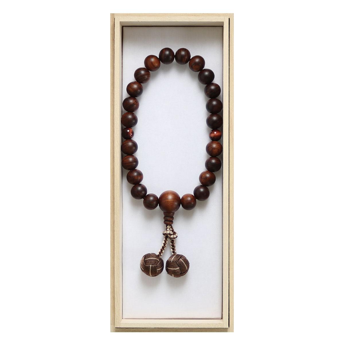 数珠 男性用略式 京念数 全宗派対応 縞栴檀 赤虎目石仕立 利久梵天房