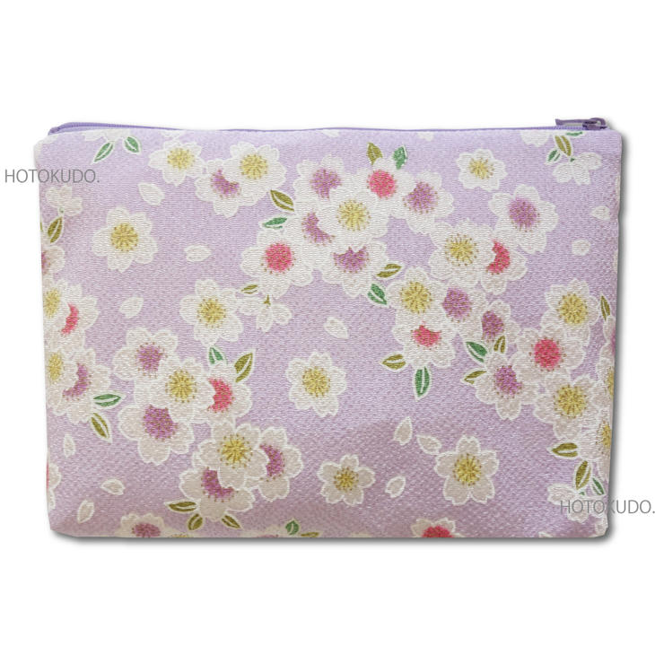 【御朱印帳収納袋】和柄特製ポーチ/三色桜<藤>