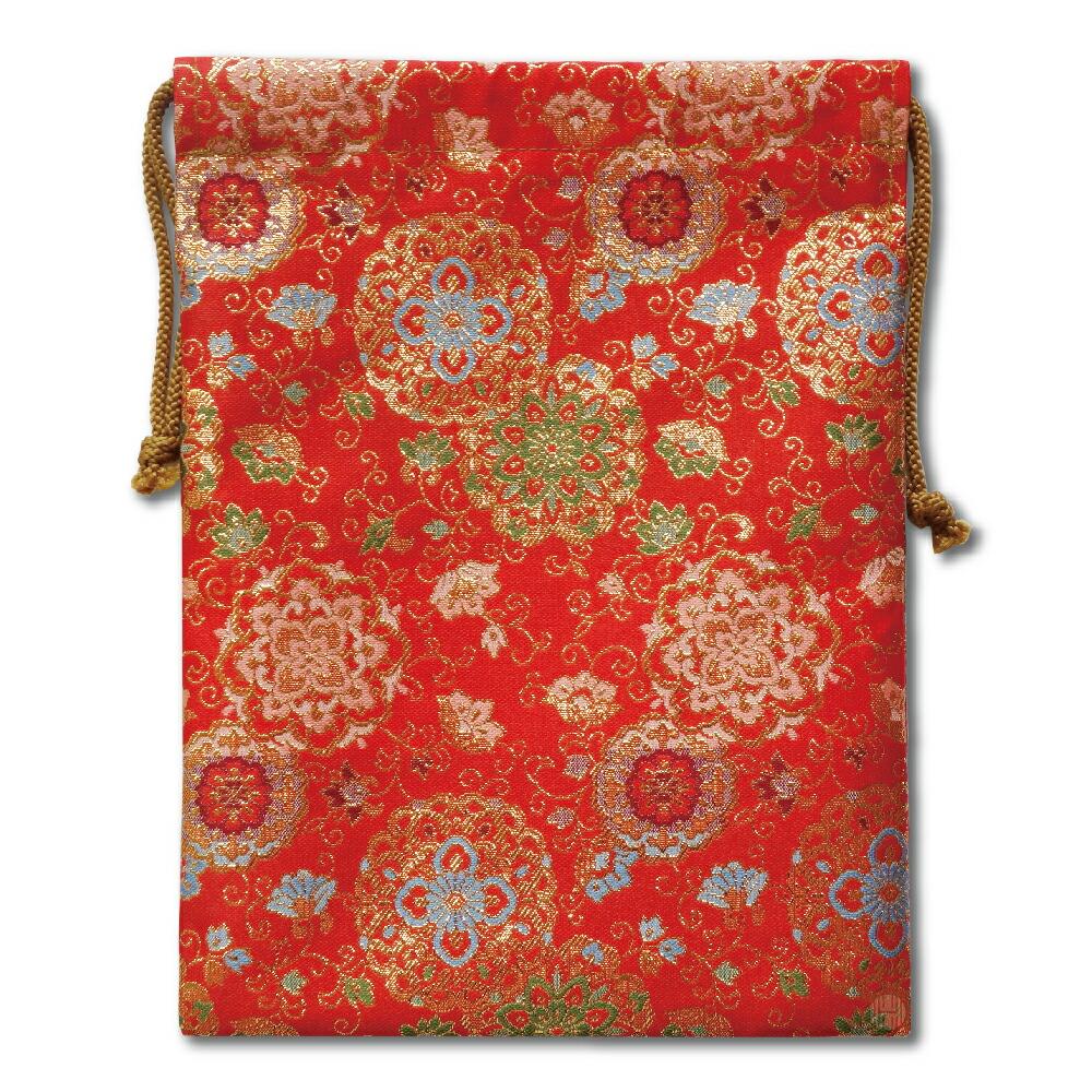 【御朱印帳収納袋】赤色華紋唐草金襴巾着袋