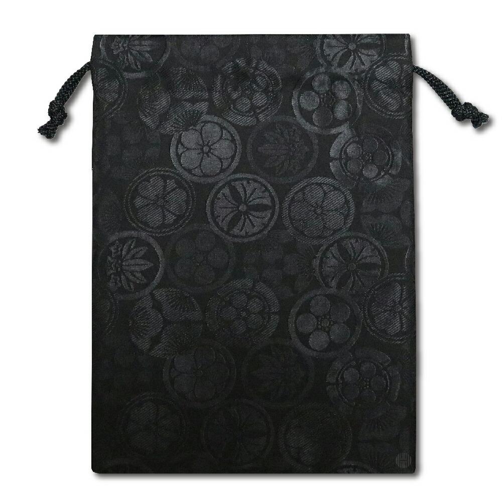 【御朱印帳収納袋】花紋柄黒色巾着袋