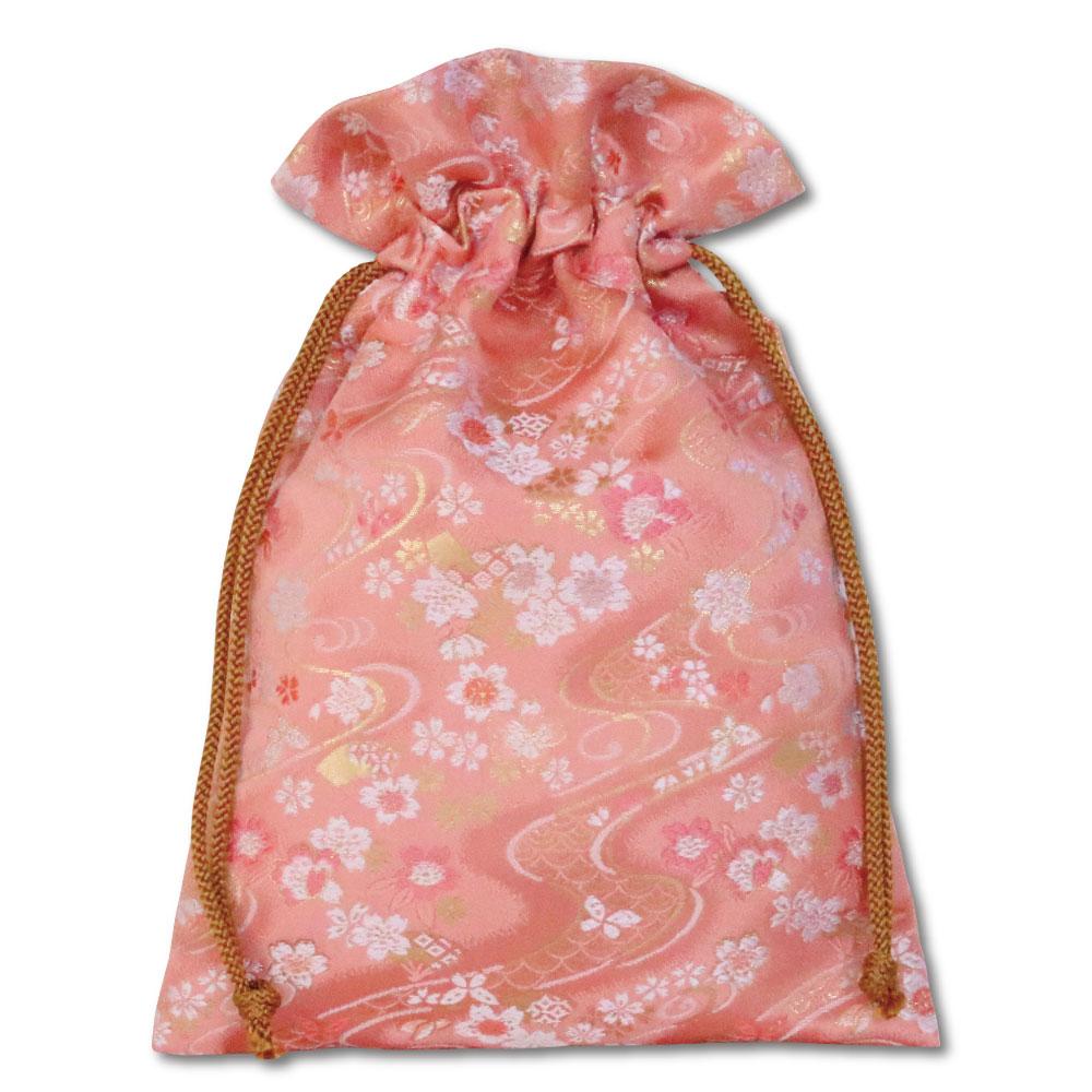 【御朱印帳収納袋】流水小花 薄紅色巾着袋