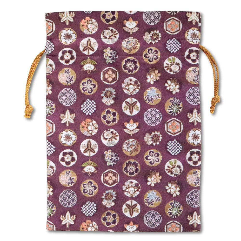 【御朱印帳収納袋】丸華紋 紫色巾着袋