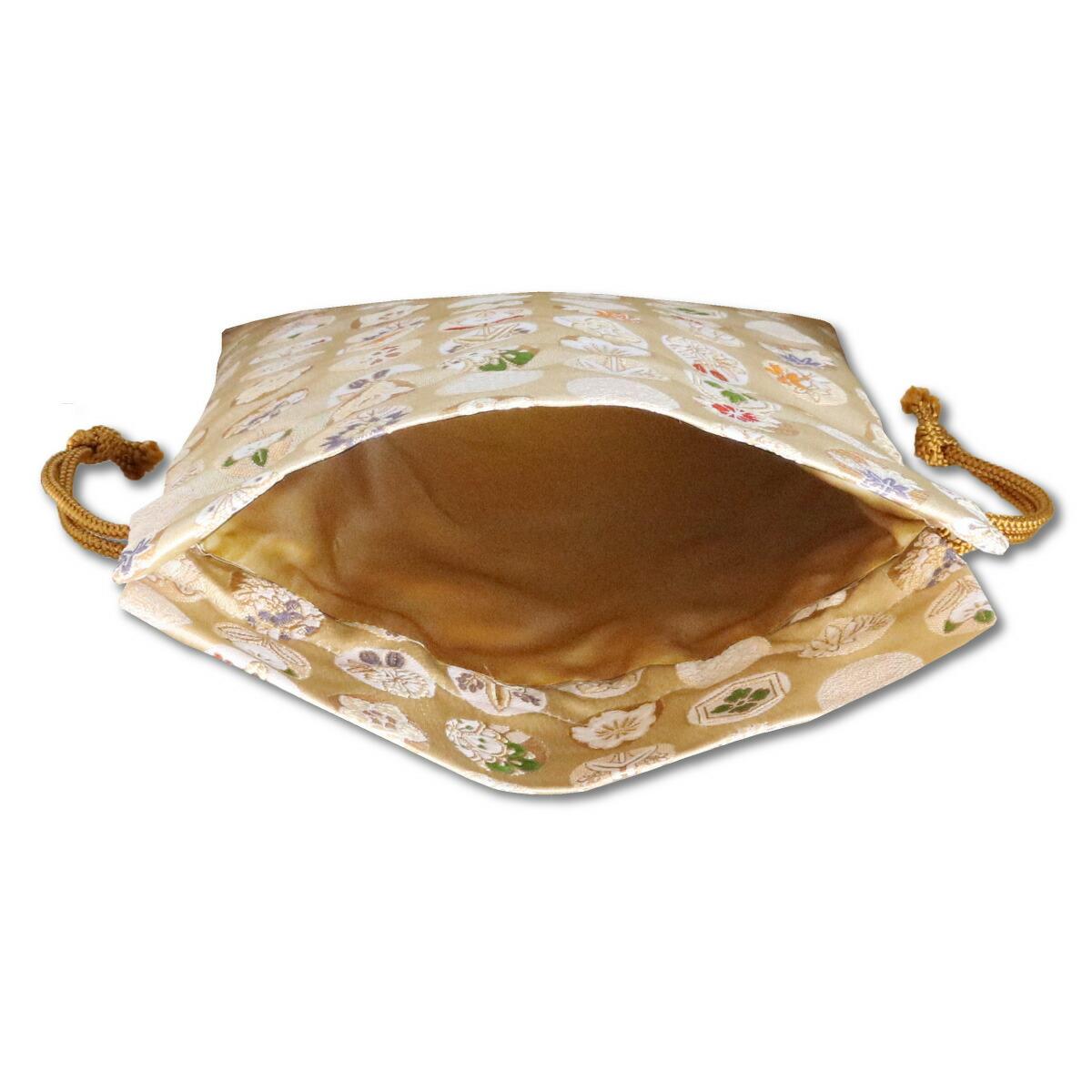 【御朱印帳収納袋】丸華紋 金色巾着袋